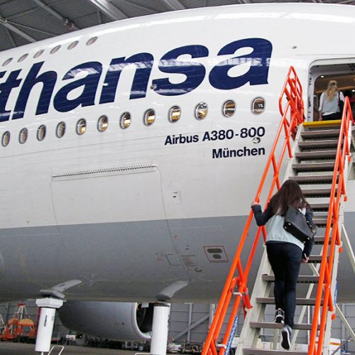 entering the plane